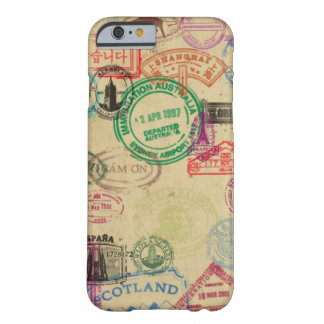 Vintage Passport Stamps Barely There iPhone Case