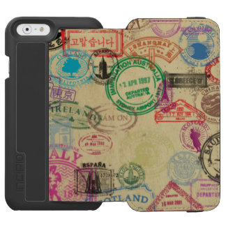 Vintage Passport Stamps Black iPhone Wallet Case Incipio Watson™ iPhone 6 Wallet Case