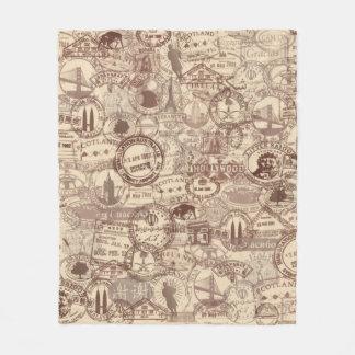 Vintage Passport Stamps Fleece Blanket