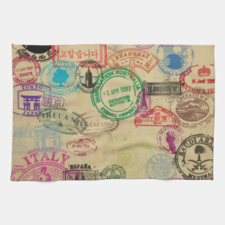 "Vintage Passport Stamps Kitchen Towel 16"" x 24"""