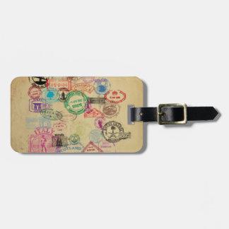 Vintage Passport Stamps Luggage Tag