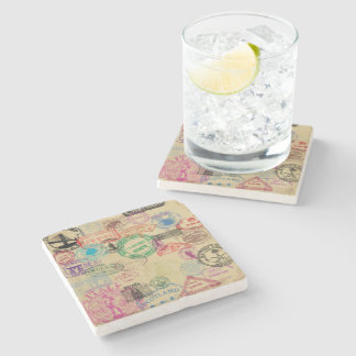Vintage Passport Stamps Marble Stone Coaster