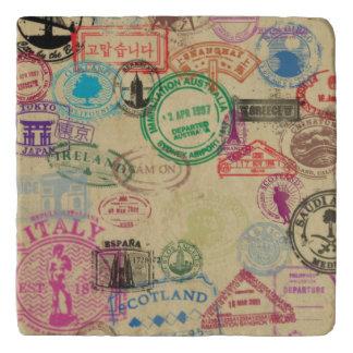 Vintage Passport Stamps Marble Stone Trivet
