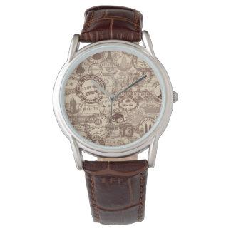 Vintage Passport Stamps Men's Brown Leather Watch