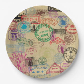 "Vintage Passport Stamps Paper Plates 9"" 9 Inch Paper Plate"