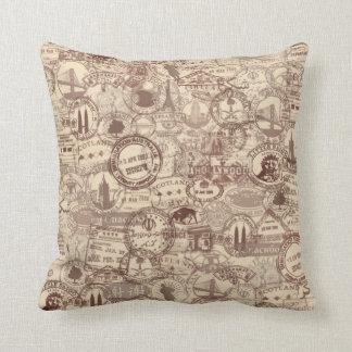 Vintage Passport Stamps Throw Pillow