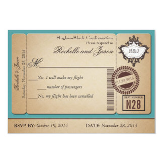 Vintage Passport Ticket RSVP 9 Cm X 13 Cm Invitation Card