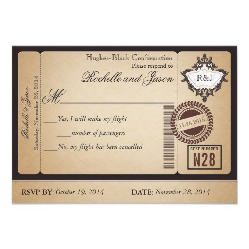 Vintage Passport Ticket RSVP Custom Invitations