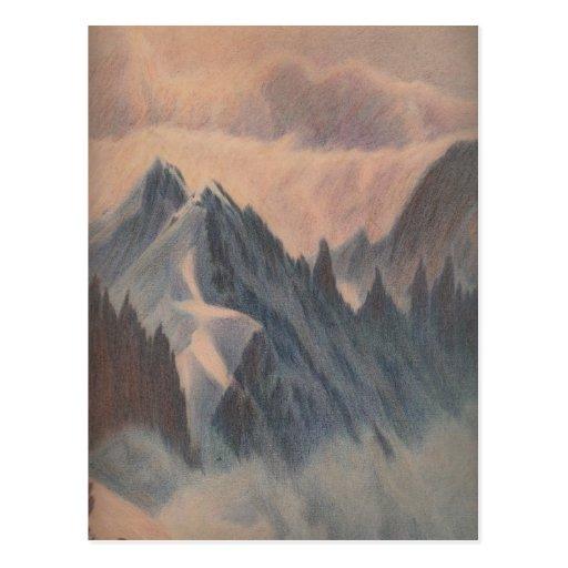 Vintage pastel drawing eerie mountain glacier post cards