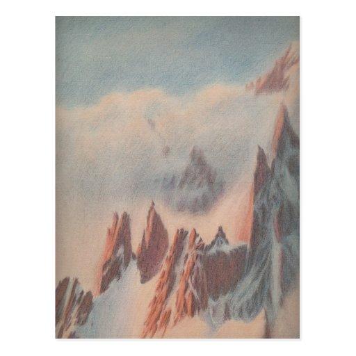Vintage pastel drawing mountain glacier landscape postcard