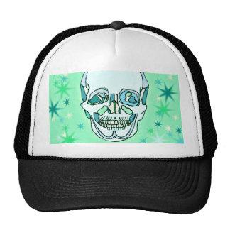 Vintage Pastel Green & Teals Skull and Stars Trucker Hat