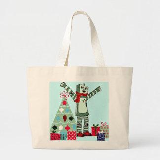 Vintage Pastel Holiday Robot Boy, Tree, & Gifts Large Tote Bag