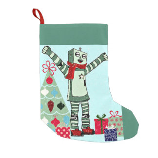 Vintage Pastel Holiday Robot Boy, Tree, & Gifts Small Christmas Stocking