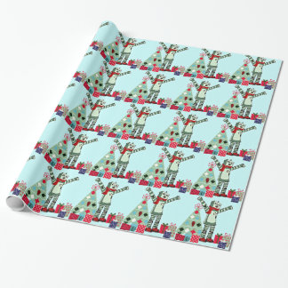 Vintage Pastel Holiday Robot Boy, Tree, & Gifts Wrapping Paper