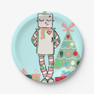 Vintage Pastel Holiday Robot & Tree Paper Plates 7 Inch Paper Plate