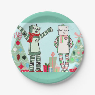 Vintage Pastel Holiday Robots & Tree Paper Plates 7 Inch Paper Plate