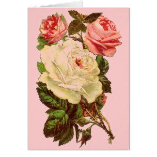 Vintage Pastel Roses Greeting Card