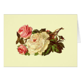Vintage Pastel Roses Greeting Card