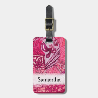 Vintage Patchwork - Hot pink Luggage Tag