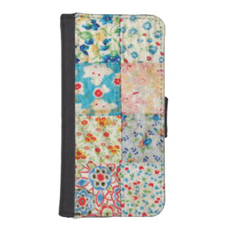 Vintage Patchwork Print Wallet Phone Case