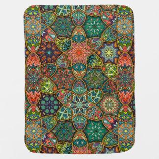 Vintage patchwork with floral mandala elements buggy blankets