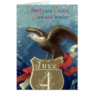 Vintage Patriotic 4th of July, Eagle with Stars Greeting Card