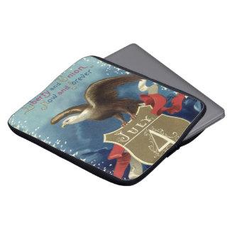 Vintage Patriotic 4th of July, Eagle with Stars Laptop Sleeves