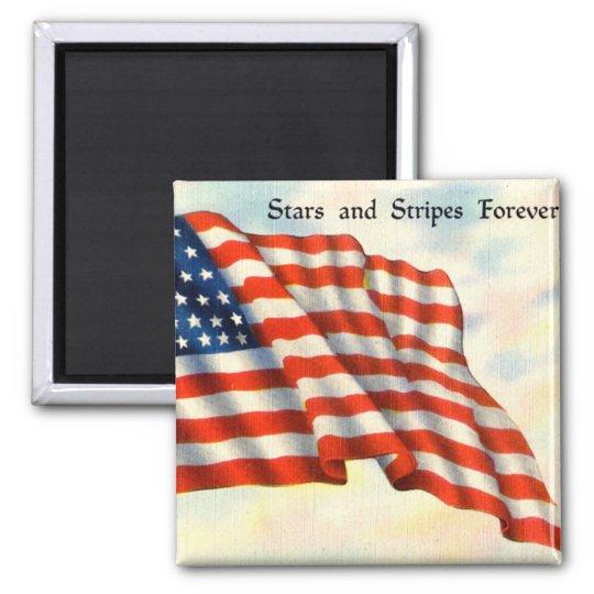 Vintage Patriotic 4th of July Square Magnet