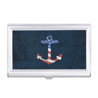 Vintage Patriotic American Flag Anchor Nautical US Business Card Holder