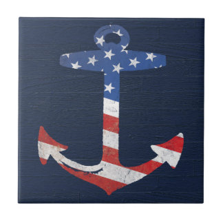 Vintage Patriotic American Flag Anchor Nautical US Tile