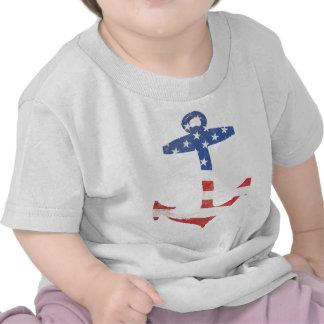 Vintage Patriotic American Flag Anchor Nautical US T Shirts