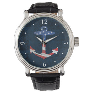 Vintage Patriotic American Flag Anchor Nautical US Watch