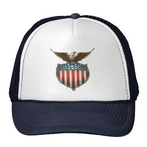 Vintage Patriotic, American Flag with Bald Eagle Mesh Hat