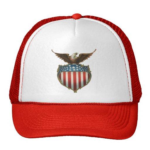Vintage Patriotic, American Flag with Bald Eagle Hats