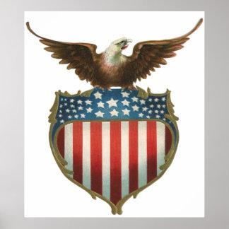 Vintage Patriotic, American Flag with Bald Eagle Poster