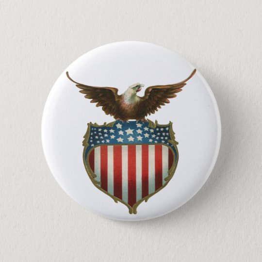 Vintage Patriotic, Bald Eagle with American Flag 6 Cm Round Badge