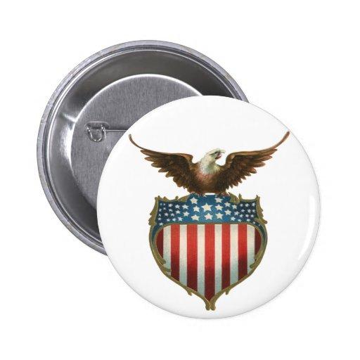 Vintage Patriotic, Bald Eagle with American Flag 6 Cm Round Badge