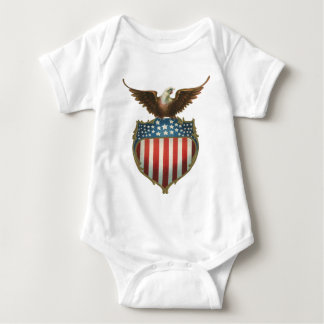 Vintage Patriotic, Bald Eagle with American Flag Baby Bodysuit