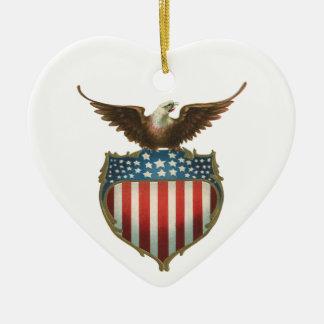 Vintage Patriotic, Bald Eagle with American Flag Ceramic Heart Decoration