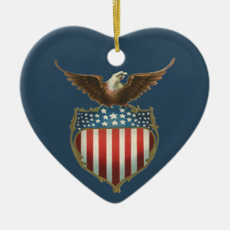 Vintage Patriotic, Bald Eagle with American Flag Christmas Ornament