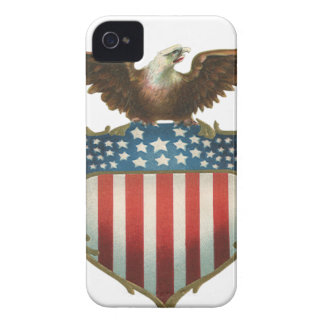Vintage Patriotic, Bald Eagle with American Flag iPhone 4 Case-Mate Case