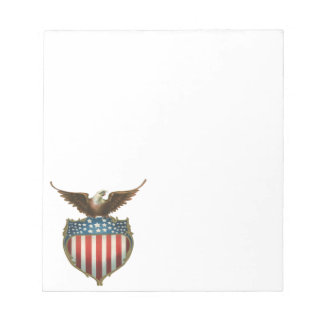 Vintage Patriotic, Bald Eagle with American Flag Notepad