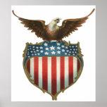 Vintage Patriotic, Bald Eagle with American Flag Poster