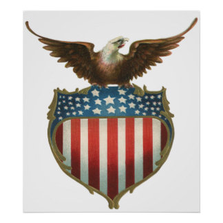 Vintage Patriotic, Bald Eagle with American Flag Poster
