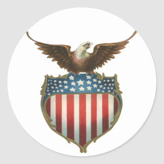 Vintage Patriotic, Bald Eagle with American Flag Round Sticker