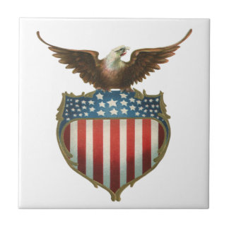 Vintage Patriotic, Bald Eagle with American Flag Small Square Tile