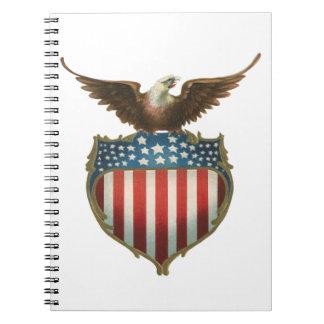 Vintage Patriotic, Bald Eagle with American Flag Spiral Notebook