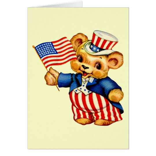 Vintage Patriotic Bear Card
