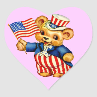 Vintage Patriotic Bear Sticker