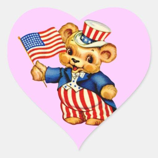 Vintage Patriotic Bear Sticker